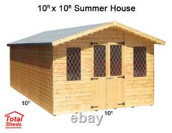 10 x 10 SUPREME SUMMER HOUSE LOG CABIN WOODEN SHED TOP QUALITY GRADED TIMBER
