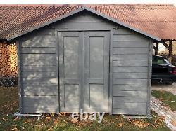 10 x 6.5 ft Wooden Garden Shed Office Log cabin Apex Roof Felt Floor 30mm