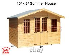 10 x 6 SUPREME SUMMER HOUSE LOG CABIN WOODEN SHED TOP QUALITY GRADED TIMBER