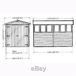 10 x 6 Wooden Windowless Overlap Garden Shed with Double Doors