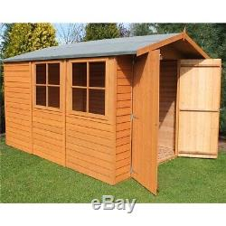 10 x 7 Wooden Overlap Garden Shed with Double Doors and 2 Windows