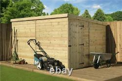 10 x 8 GARDEN SHED SHIPLAP PENT TANALISED PRESSURE TREATED DOOR RIGHT END