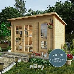10 X 8 Summerhouse Pent Garden Builing Wood Cabin Patio Shed Interlocking  Boards