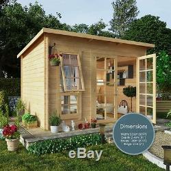 10 X 8 Summerhouse Pent Garden Builing Wood Cabin Patio