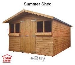 10ft X 10ft Garden Wooden Shed Summer House With +1ft Overhang
