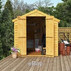 10ft x 6ft Overlap Garden Storage Wooden Shed Double Door Window Apex Roof Felt