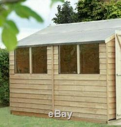 10x10 GARDEN TIMBER SHED WOOD PRESSURE TREATED DOUBLE DOORS STORE 10FT WINDOWS