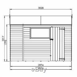 10x6 GARDEN SHED SINGLE DOOR REVERSE APEX WOODEN STORAGE OVERLAP CLAD WINDOW