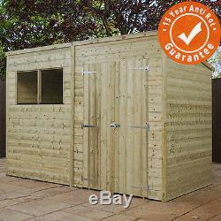 10x6 pressure treated wooden garden storage shed pent roof double door waltons