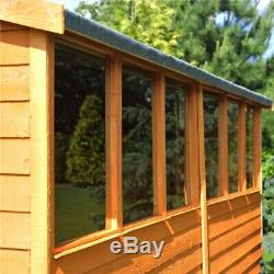 10x6 Wooden Garden Overlap Shed with Double Doors and Six Windows 10ft x 6ft