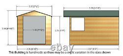 10x7 GARDEN SHED APEX ROOF FLOOR DOOR TIMBER WINDOW WOOD TOOL BIKE STORE 7ft DIP