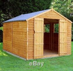 10x8 Overlap Wooden Garden Shed Windows Double Door Apex Roof Felt FREE DELIVERY