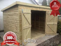 10x8 PENT GARDEN SHED HEAVY DUTY Double Doors fully Tanalised (SECONDS)