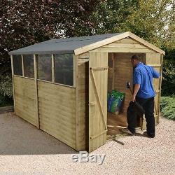10x8 PRESSURE TREATED WOODEN GARDEN SHED NEW UN USED 10ft x 8ft SHEDS 10 x 8