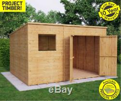 10x8 Pent Wooden Garden Shed Tongue &Groove Shiplap Cladding Offset Double Doors