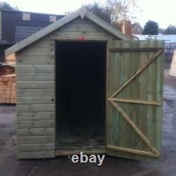 10x8 Tanalised Wooden Apex Garden Shed T&G Throughout Hut Pressure Treated Store