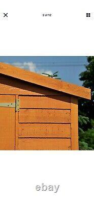 10x8 WOODEN GARDEN SHED APEX ROOF WINDOWLESS FLOOR DOUBLE DOOR STORAGE 10ft 8ft
