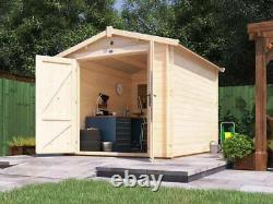10x8 Wooden Garden Shed Secure Workshop Heavy Duty Cabin Style Storage Petrus
