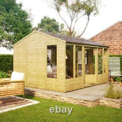 12 x 10 Hobbyist Summerhouse with Long Windows Tongue and Groove Garden Shed