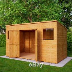 12 x 6 Second Factory Pent Wooden Garden Shed Windowed Central Door