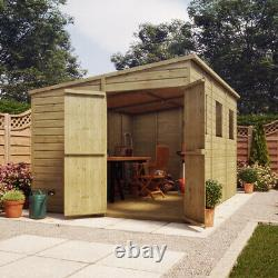 12 x 8 Pressure Treated Pent Garden Shed Window Gable End Door LEFT END Quality