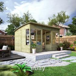 12 x 8 Pressure Treated Verano Wooden Garden Summerhouse with T&G Sunroom Shed