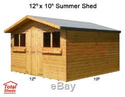 12ft X 10ft Garden Shed Summer House With +1ft Overhang High Quality Timber Wood