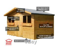 12ft X 8ft Garden Shed Summer House With+1ft Overhang High Quality Wooden Timber