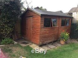 12ft x 8ft Shiplap Wooden Garden Shed Double Door Apex Roof Felt 12ft 8ft