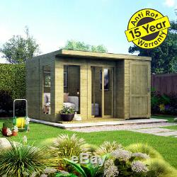 12x10 Pent Lounge Summerhouse Garden Room Pressure Treated with Store Room Shed