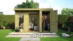 12x10 Pent Summerhouse With Built In Storage Shed Garden Office Workshop Treated