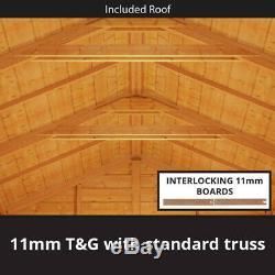 12x10 ft T&G Wooden Garden Shed Double Door Windows Tool Store Apex Workshop