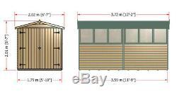 12x6 GARDEN SHED APEX ROOF FLOOR DOOR TIMBER WINDOW WOOD TOOL BIKE STORE 6ft DIP
