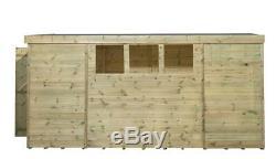 12x6 Garden Shed Shiplap Pent Roof Pressure Treated Door Left End 3 Low Windows