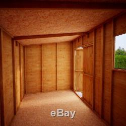 12x6 Second Factory Pent Wooden Garden Shed Windowed Central Double Door 40% off