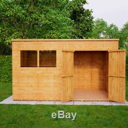 12x6 Second Factory Pent Wooden Garden Shed Windowed Offset Double Door 40% off