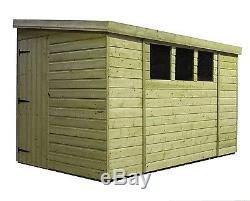 12x8 Garden Shed Shiplap Pent Roof Pressure Treated Door Left End 3 Low Windows