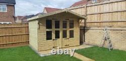 12x8'Lydian Summerhouse' Heavy Duty Wooden Garden Room Shed Tanalised