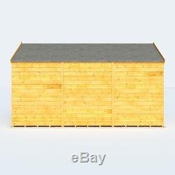 12x8 Overlap Garden Wooden Shed Windowless Double Door Apex Roof & Felt 12FT 8FT