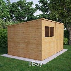 12x8 Pent Wooden Garden Shed Tongue &Groove Shiplap Cladding Offset Double Doors