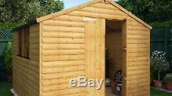12x8 Second Factory Apex12mm Loglap Wooden Garden Shed Windowed Double Door