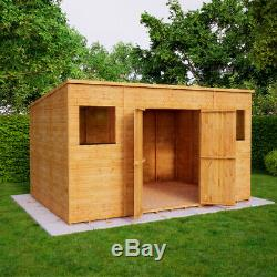 12x8 Second Factory Pent Wooden Garden Shed Windowed Central Double Door 40% off