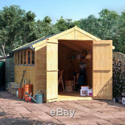 12x8 Tongue & Groove Garden Shed Windows Double Door Apex Wooden Store Workshop