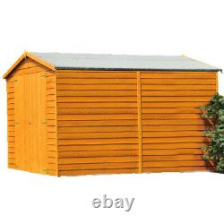 12x8 WOODEN GARDEN SHED APEX ROOF WINDOWLESS FLOOR DOUBLE DOOR STORAGE 12ft 8ft