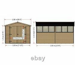 12x8 WOODEN GARDEN SHED APEX ROOF WINDOW FLOOR DOUBLE DOOR STORAGE 12ft 8ft