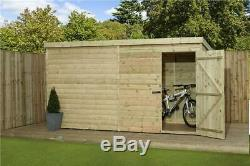 12x8 Wooden Garden Shed Shiplap Pent Shed Tanalised Pressure Treated