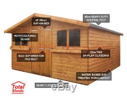 13ft X 10ft Garden Shed Summer House With +1ft Overhang High Quality Wood Timber
