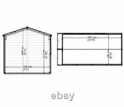 13x7 GARDEN LARGE SHED JERSEY APEX FLOOR DOUBLE DOOR WINDOW WOOD TOOL STORE 13FT