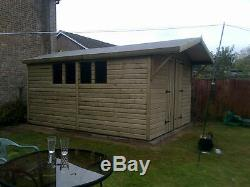 14 x 10' Cladding Double Door Box Gable Roof Wooden Shed house/4 Fix Windows