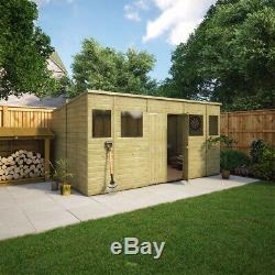 14 x 8 Second Factory Pent Pressure Treated Wooden Garden Shed With Central Door